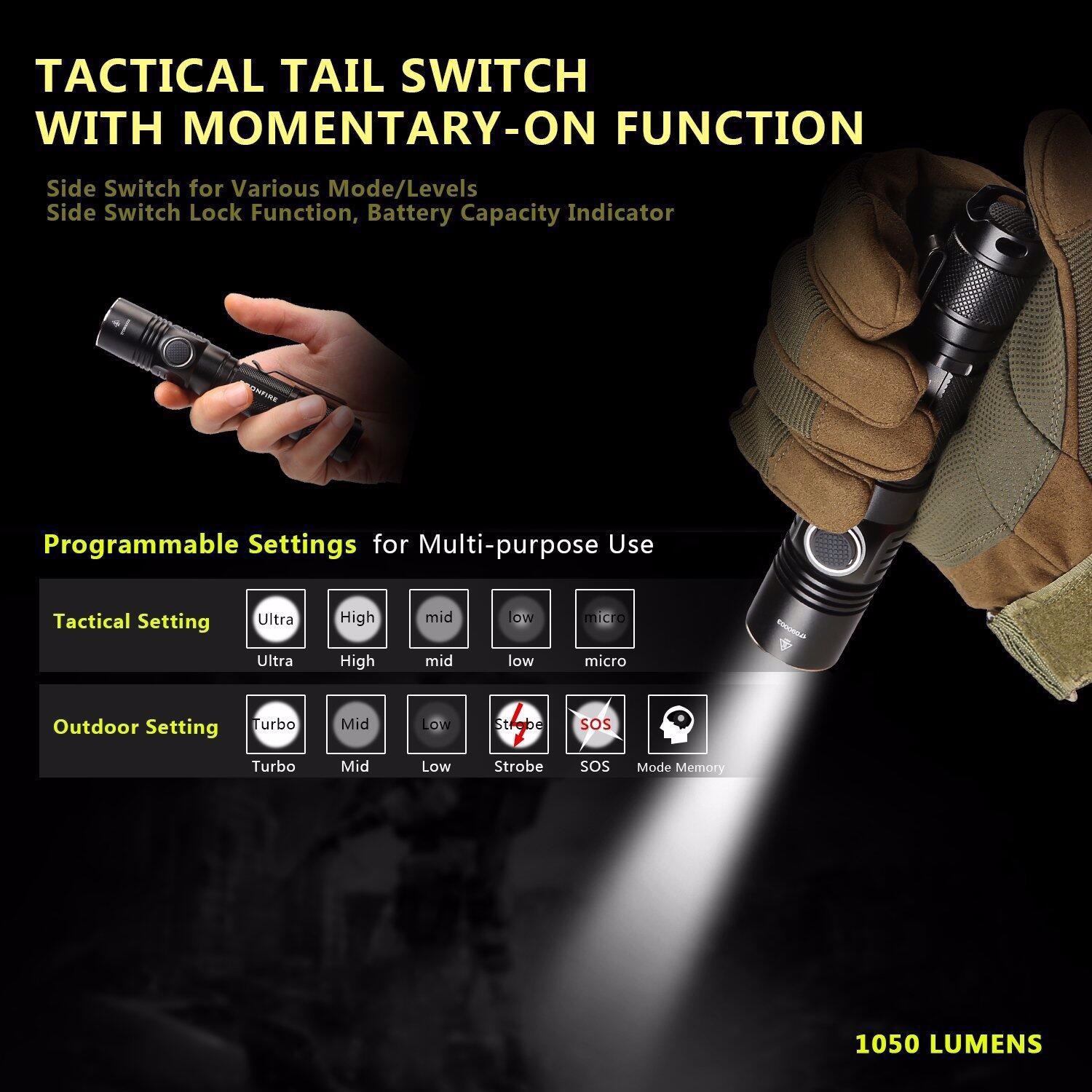 Rechargeable USB18650 Tactical Flashlight TA-01